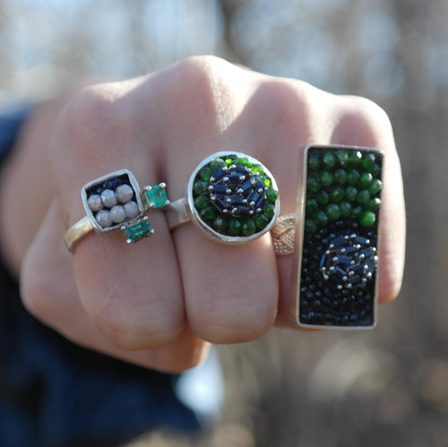 Blue Sapphire and Chrome Diopside Mosaic Ring