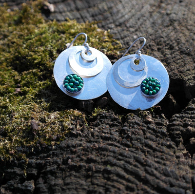 Hand Hammered Silver Coin with Azurite Mosaic Earrings