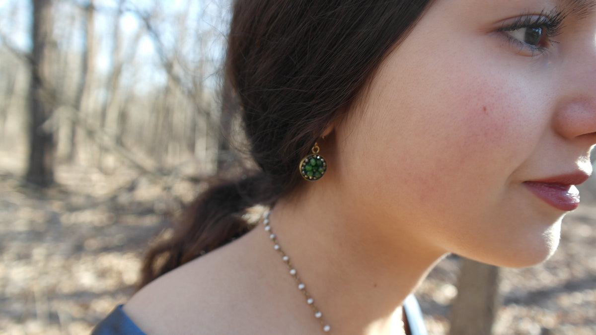 Chrome Diopsite and Pyrite Mosaic Earrings in Gold