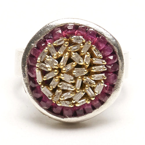 Absolutely Fabulous diamond and ruby mosaic ring