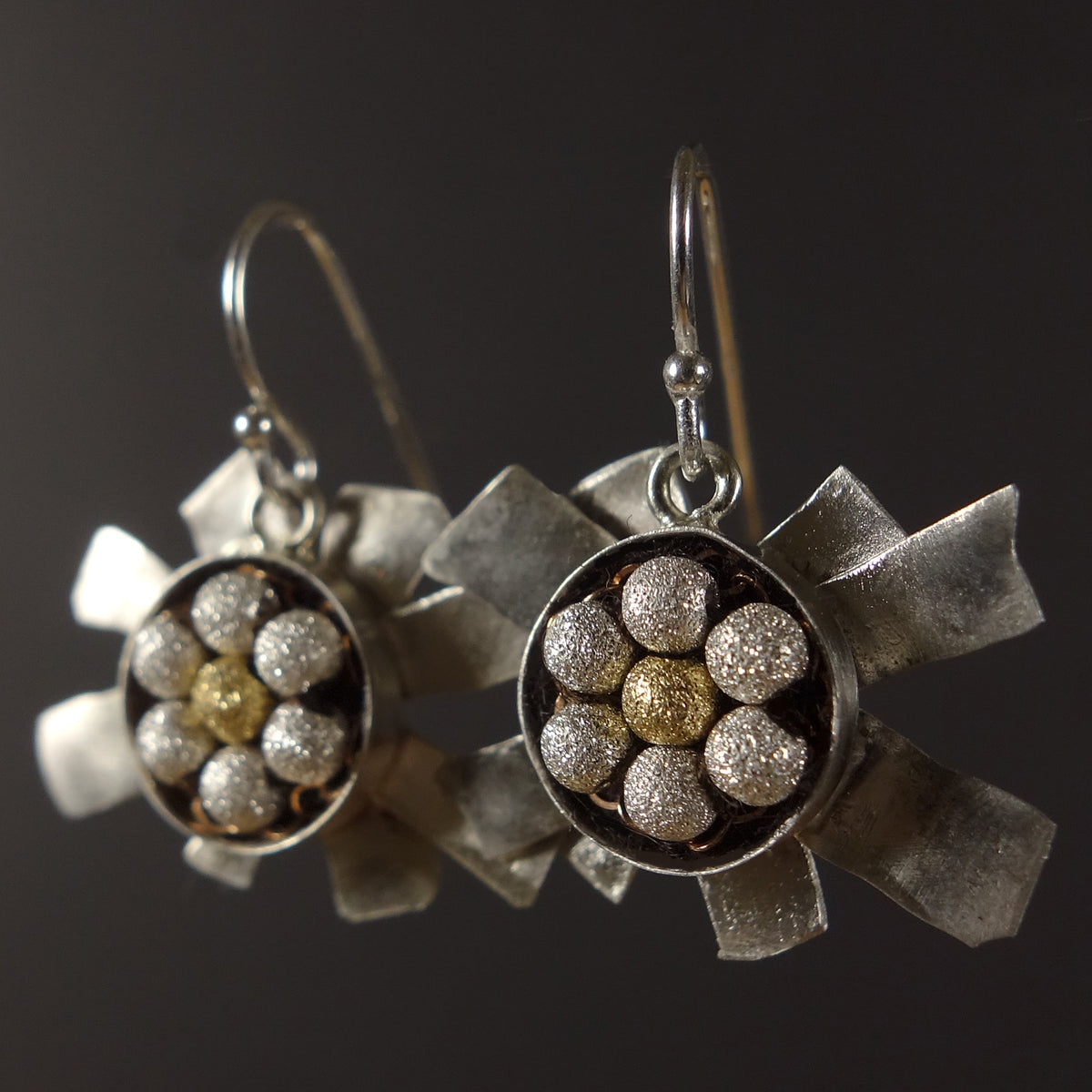 I say it's all right, little darling: hand hammered silver mosaic earring