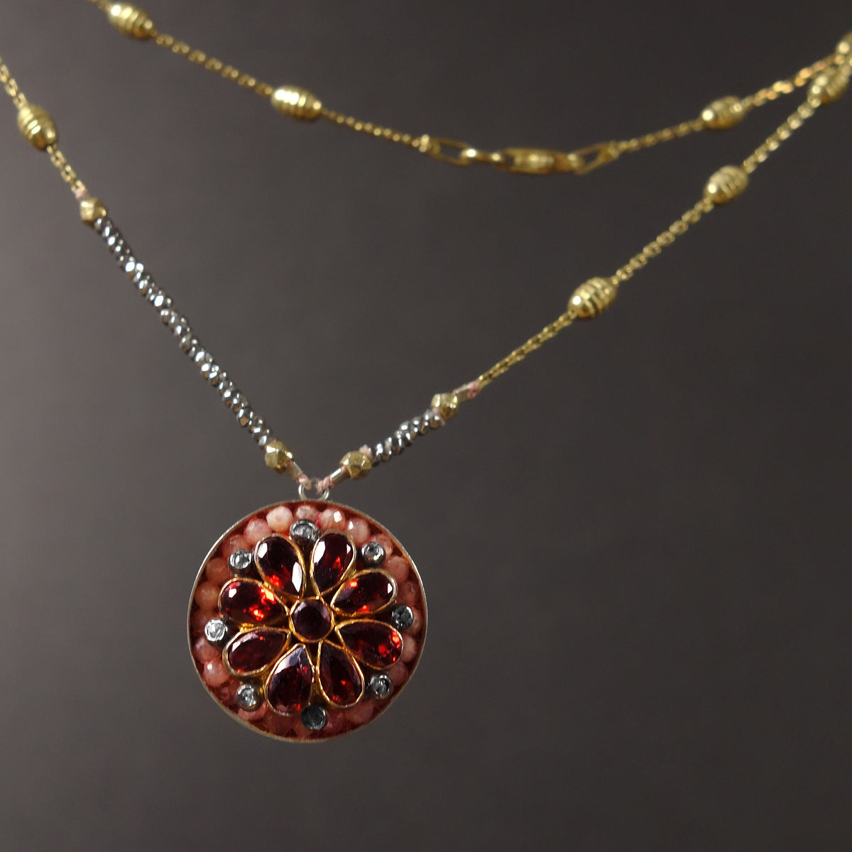 Byzantine Sun necklace: garnet, diamond, and pink sapphire mosaic