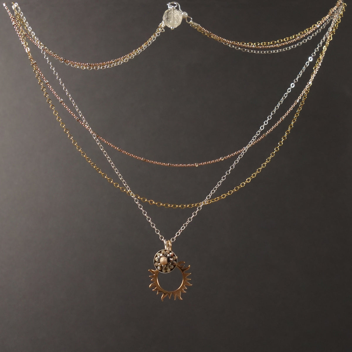 So, she lit them on FIRE: rose gold/sapphire mosaic necklace