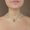 Swiss blue topaz, tiger eye, and opal mosaic necklace