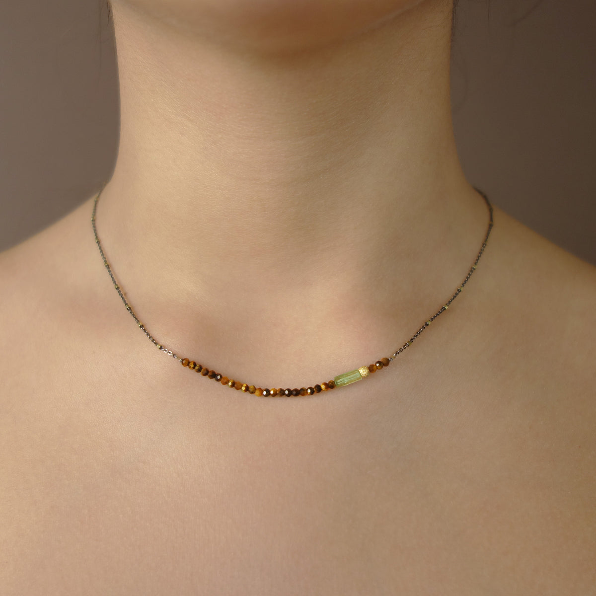 Tiger Eye and Tourmaline bar necklace