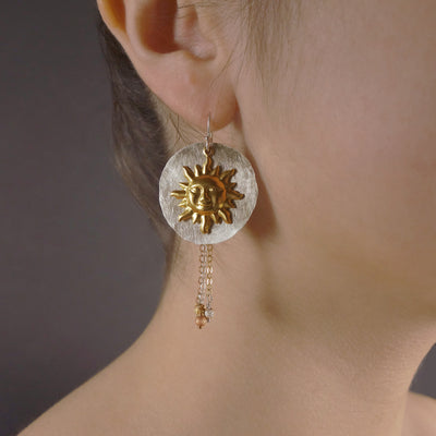 Oui, oui, Madame de Montespan: hand hammered silver, gold, rose gold earrings