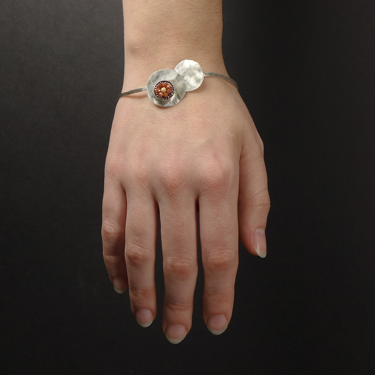 When the Planets Aligned: hand hammered silver bangle