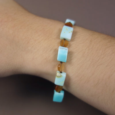 Opal and hessonite garnet bracelet