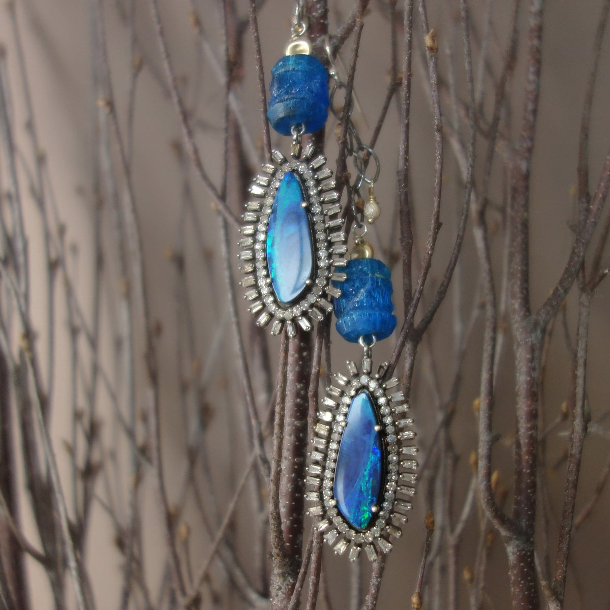 The Sun Also Rises: Opal, Diamond, and Apatite earring