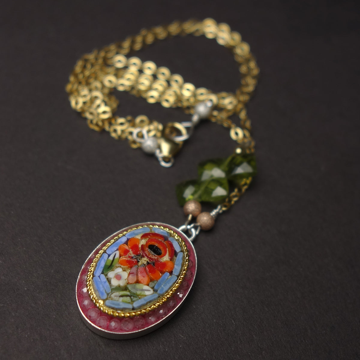 She Always Picked the Wildflowers: Ravenna mosaic with peridot, rose quartz