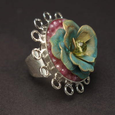 Garden of Love: topaz/sapphire flower mosaic ring