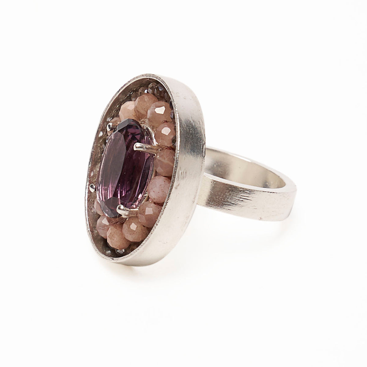 Amethyst, Coral, and Labradorite mosaic ring