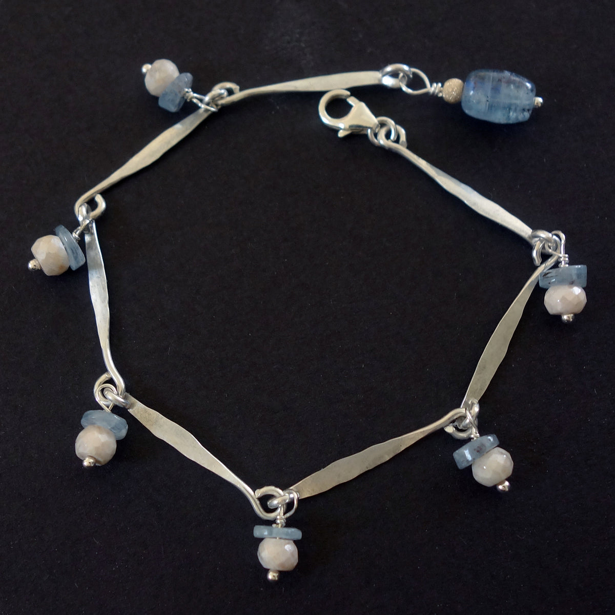 Hand hammered silver and kyanite bracelet