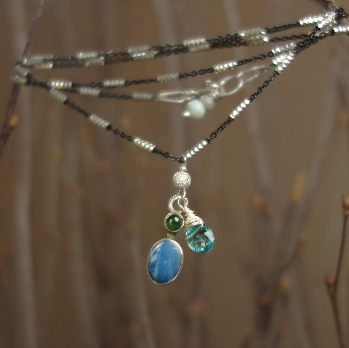 I Could Drink a Case of You: opal and sapphire necklace