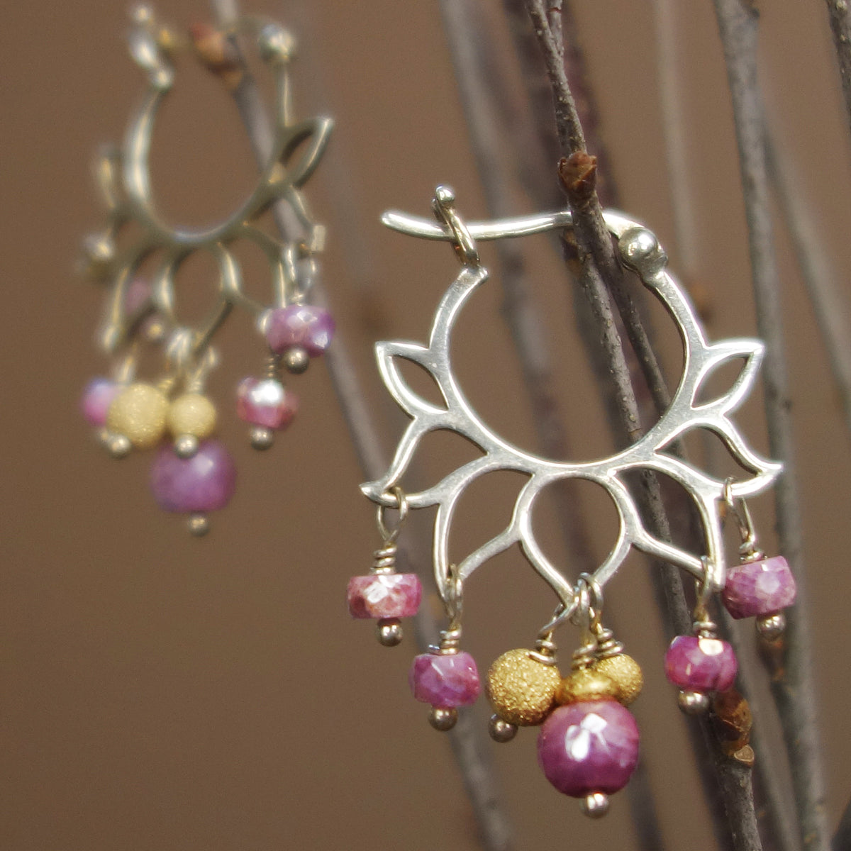 Lovely Lotus Hoops: Pink Sapphire + gold earrings