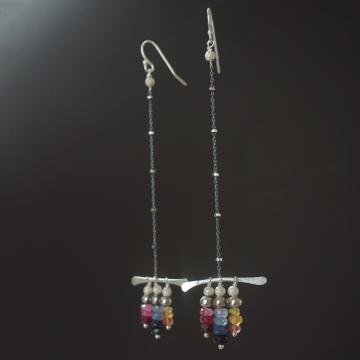 Rainbow sapphire and hammered silver earrings