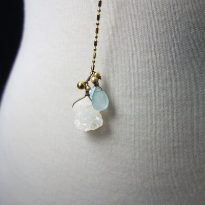 Aquamarine, clear Quartz Lariat on Gold