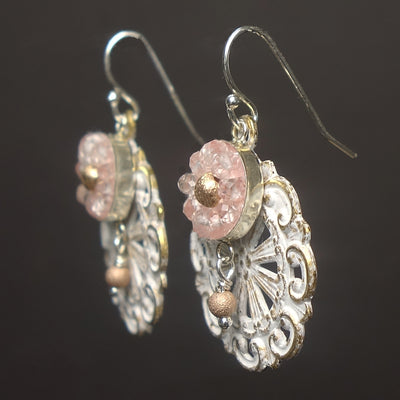 Clear Quartz mosaic with Rose Gold earrings