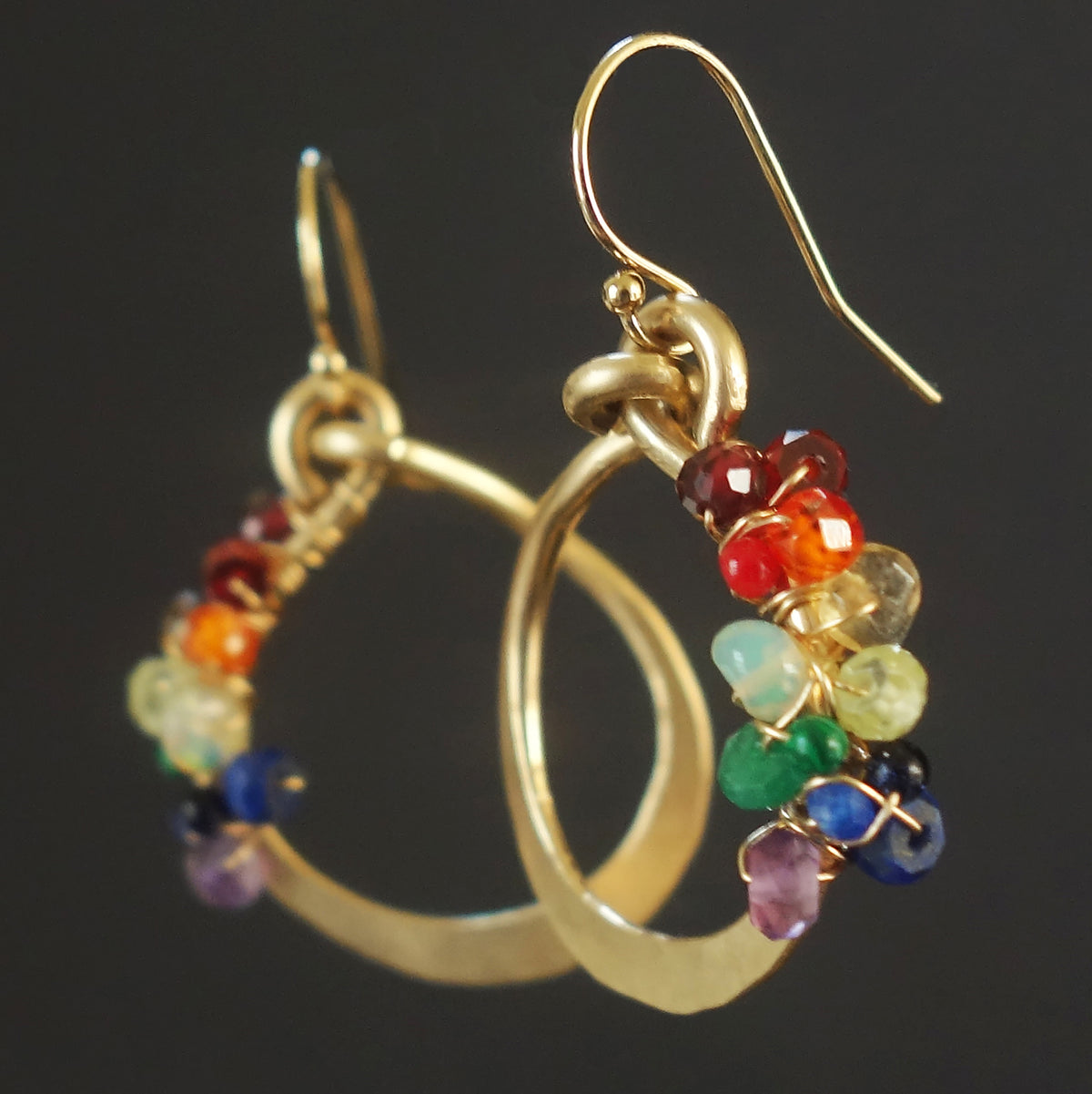 Color my World hand hammered gold earrings