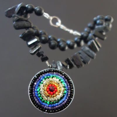 Eye of the Rainbow: mosaic necklace