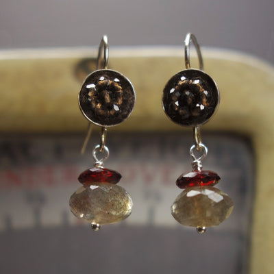 Darling Sophanista mosaic earring: topaz, labradorite, and garnet
