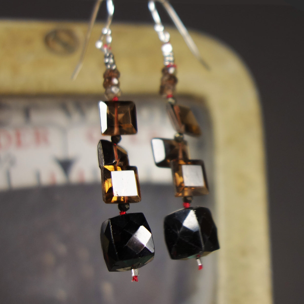 It's All Right: topaz and onyx earring
