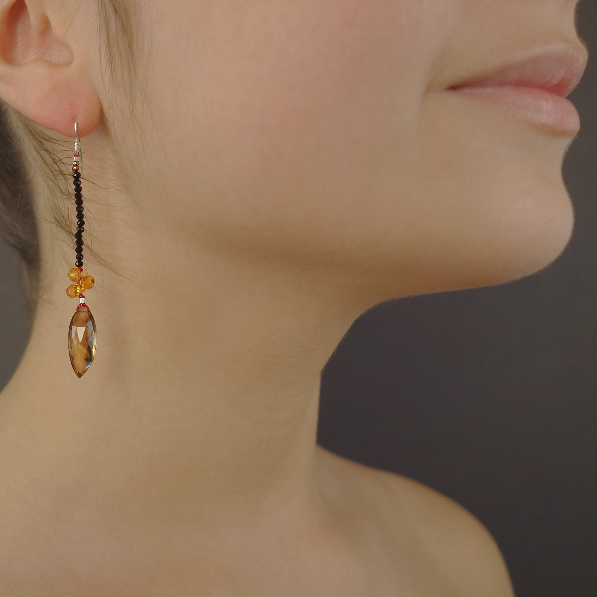 Good Day Sunshine: topaz, citrine, and onyx earrings