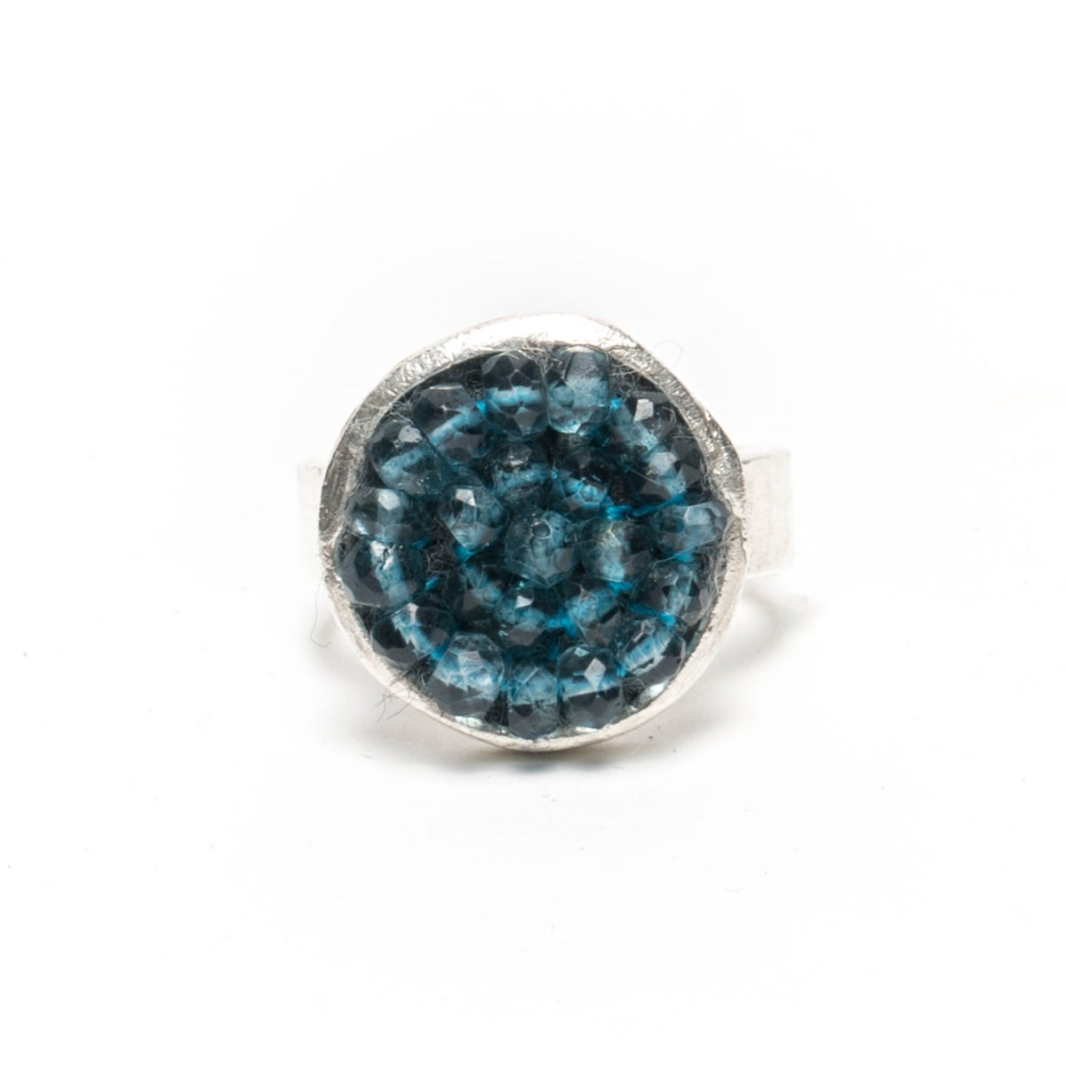 Blue nest ring w/ silver band