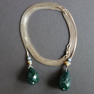 Emerald Teardrops on Sterling Silver chain necklace