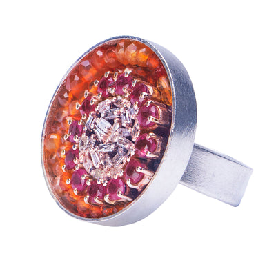 Ruby and Diamond Mosaic Ring, 24mm (Fire)