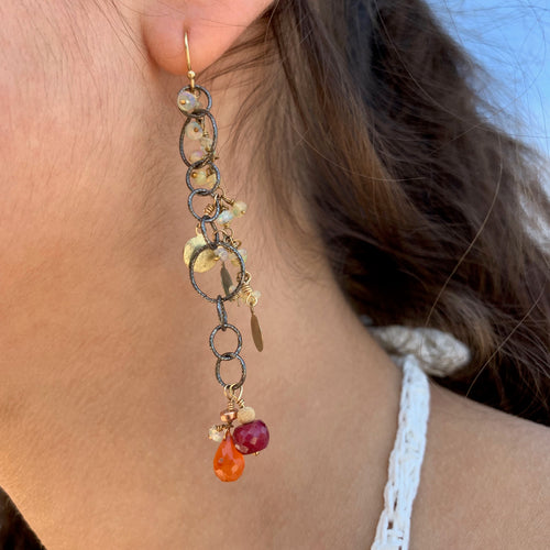 Ruby and Ethiopian Opal Earrings