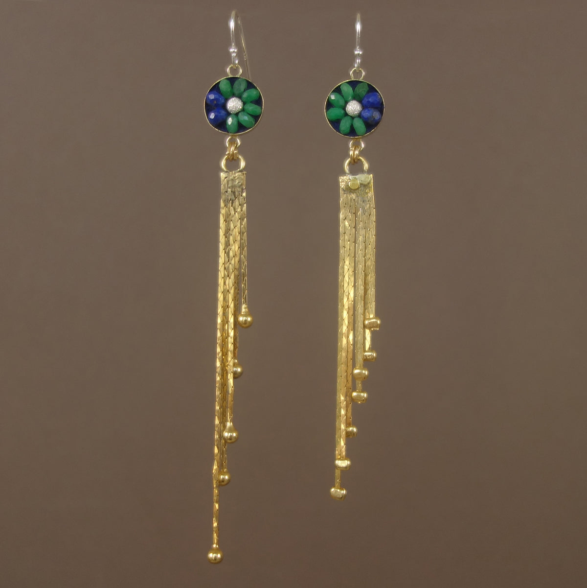 Sunshine on My Shoulder: Emerald, Gold, Lapis mosaic earring