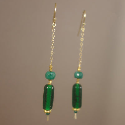 Spring has Sprung: faceted emerald, gold, Greek glass earring