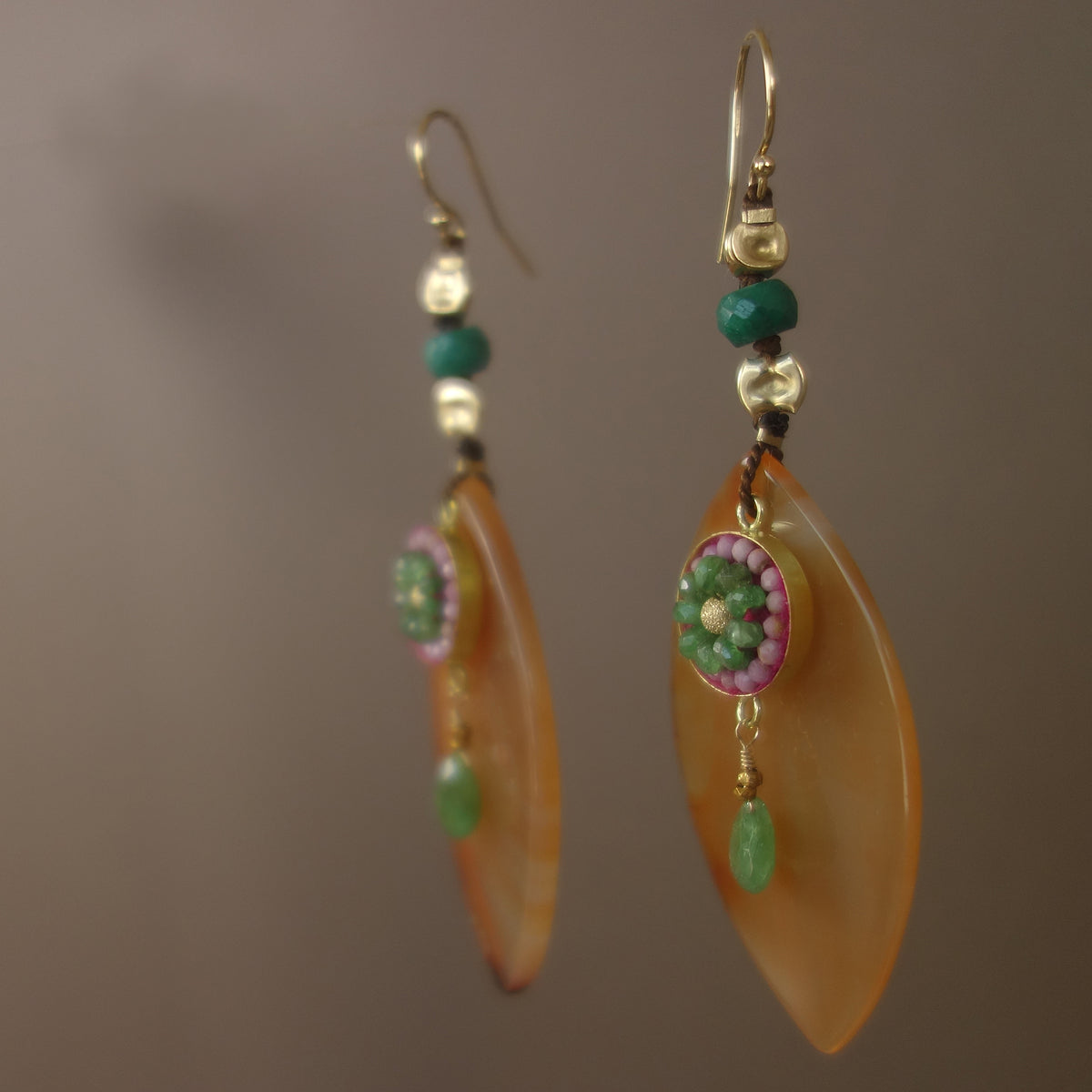 You are My Sunshine: emerald/pink sapphire mosaic earring
