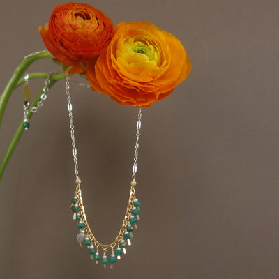 Ode to Cleopatra: faceted emerald, hammered gold necklace