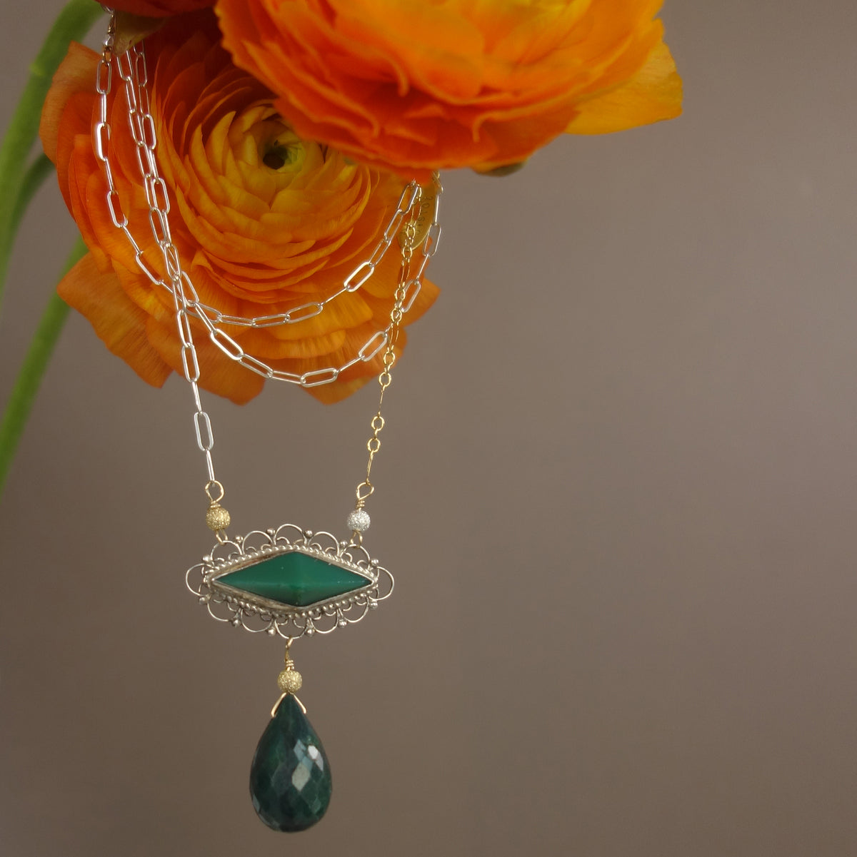 Emerald and Jade Necklace