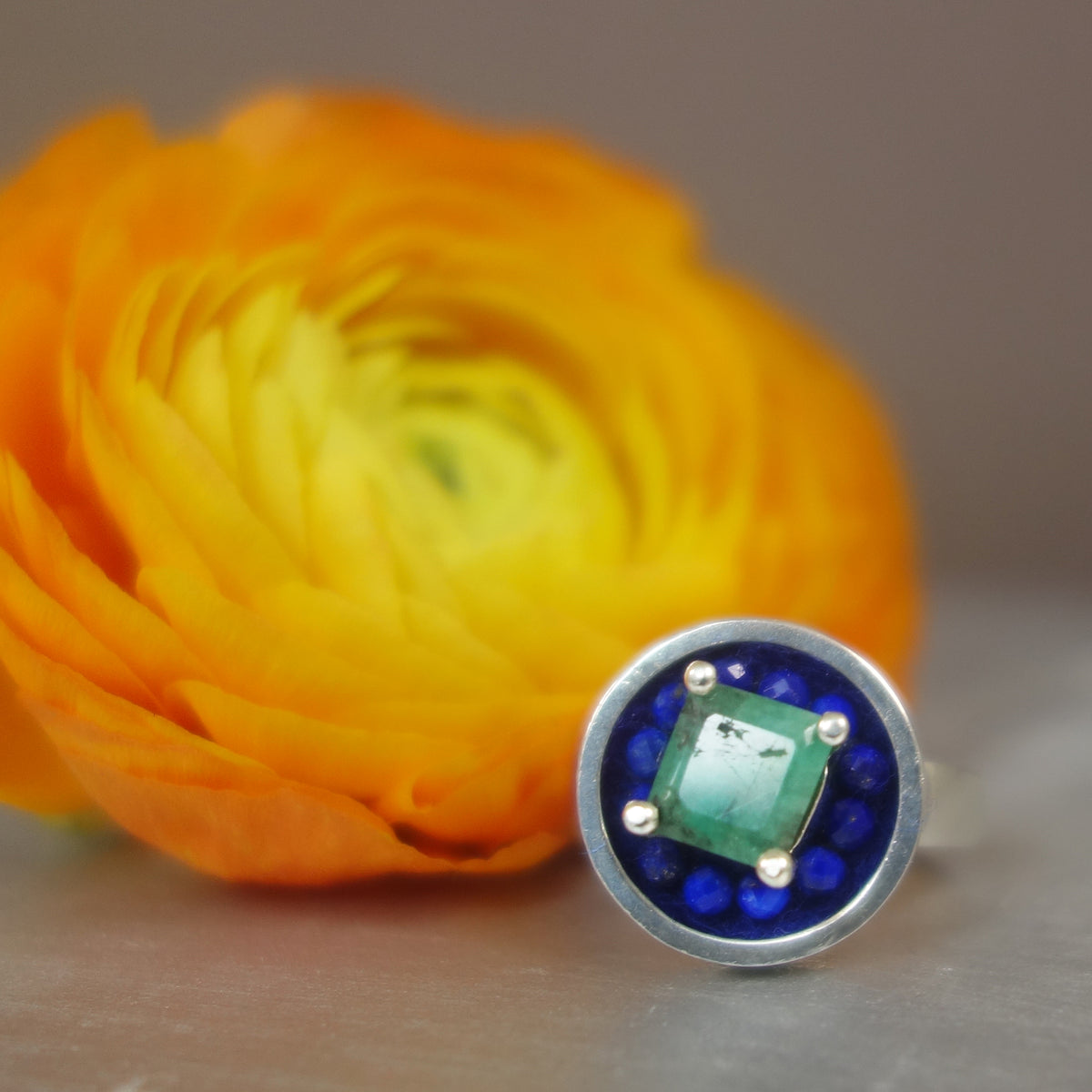 Here Comes the Sun: faceted emerald/lapis ring