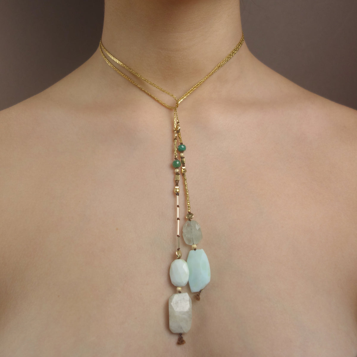 Opal, Aquamarine, Emerald, Gold DELICIOUS necklace