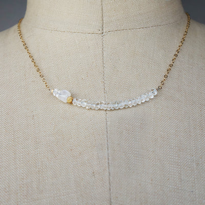Faceted Quartz Crystal Bar Necklace in Gold or Silver