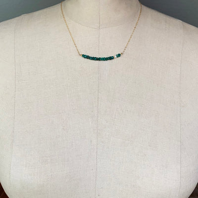 Faceted Emerald Bar Necklace on Gold chain