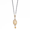 Oval Pearl Mosaic Necklace with Gold Accents