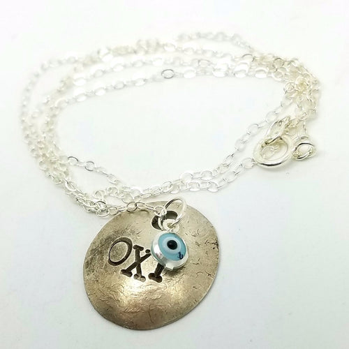 OXI Silver Necklace with Glass Mati from Greece, 17""