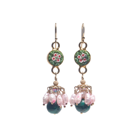 Wanderlust micro mosaic, malachite, and dancing pearls earring (Ravenna)