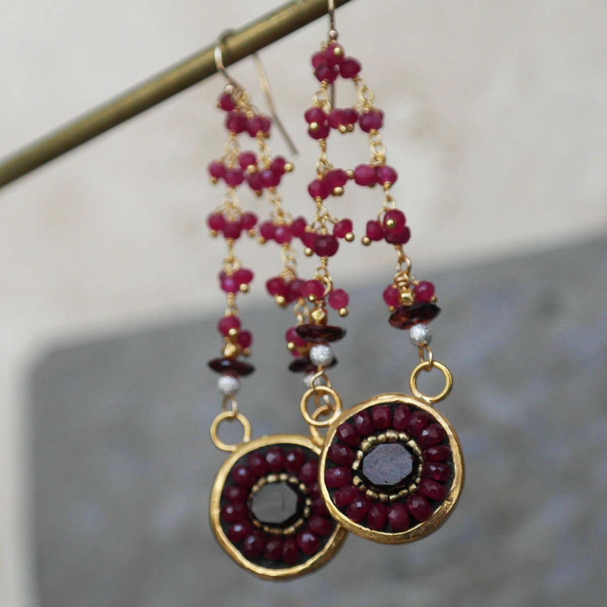 Who Needs Ruby Slippers (garnet and ruby mosaic earring)
