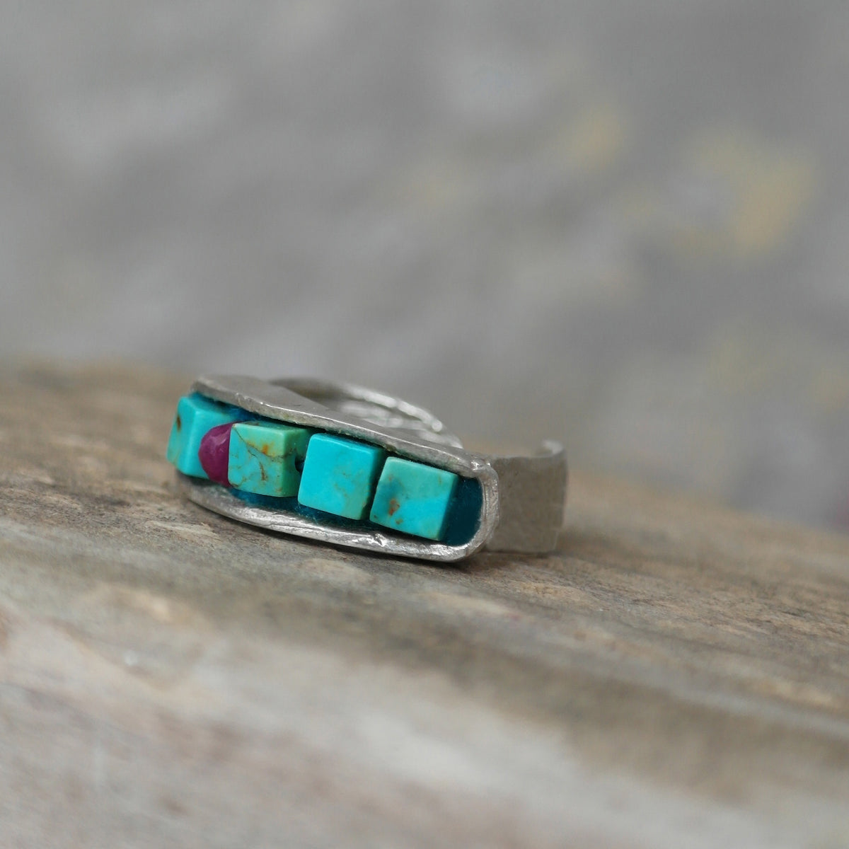 Stackable ring turquoise and copper mosaic in silver