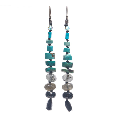 Wanderlust stacked turquoise, tourmalated quartz, and onyx earring (Santa Fe)