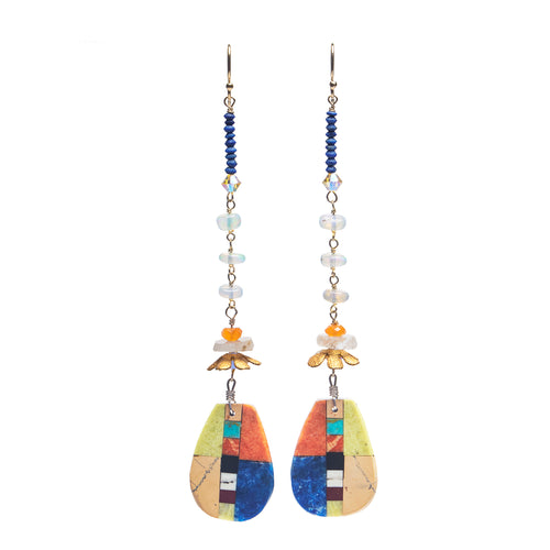 Wanderlust inlay, gold, and opal earrings (Santa Fe)