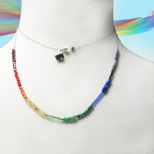 Arco Iris long gemstone necklace