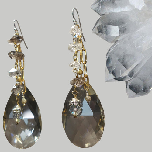 Clear Quartz and Gold chandelier earrings