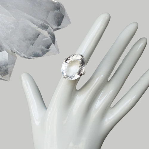 Faceted Bejeweled Clear Quartz ring